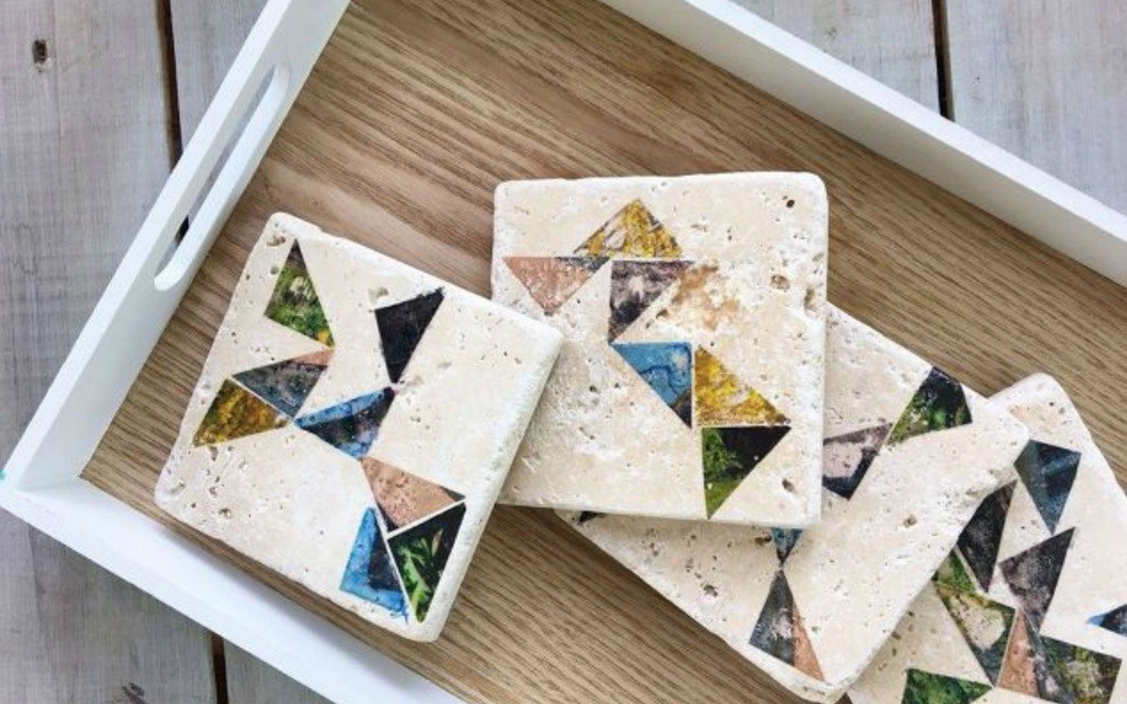 s x ways you never thought of using tile in your home, home decor, As the chic coasters at your dinner party