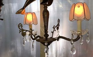 dumpster to diving dolphin antique chandelier rescued re imagined, lighting, repurposing upcycling