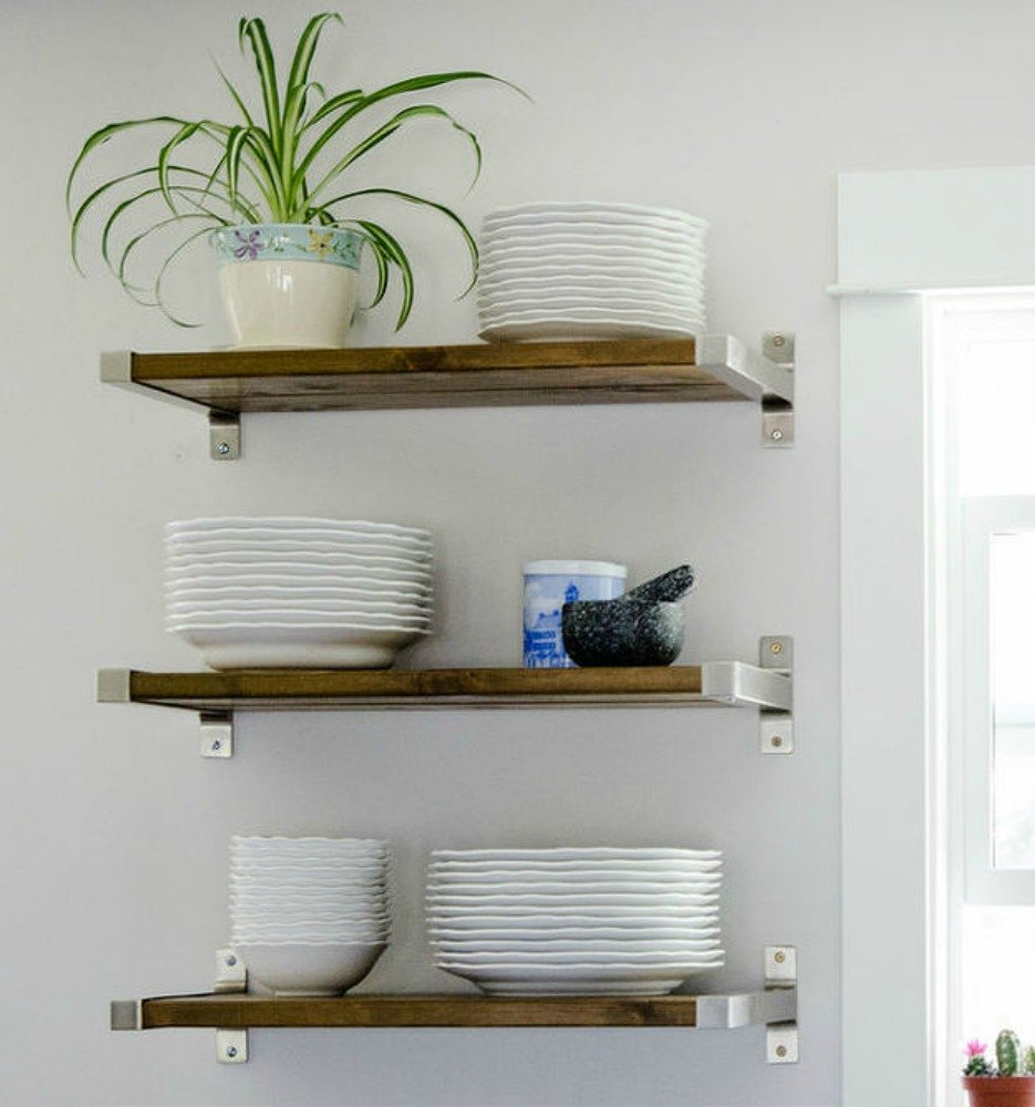 15 clever ways to add more kitchen storage space with open for Kitchen shelves design