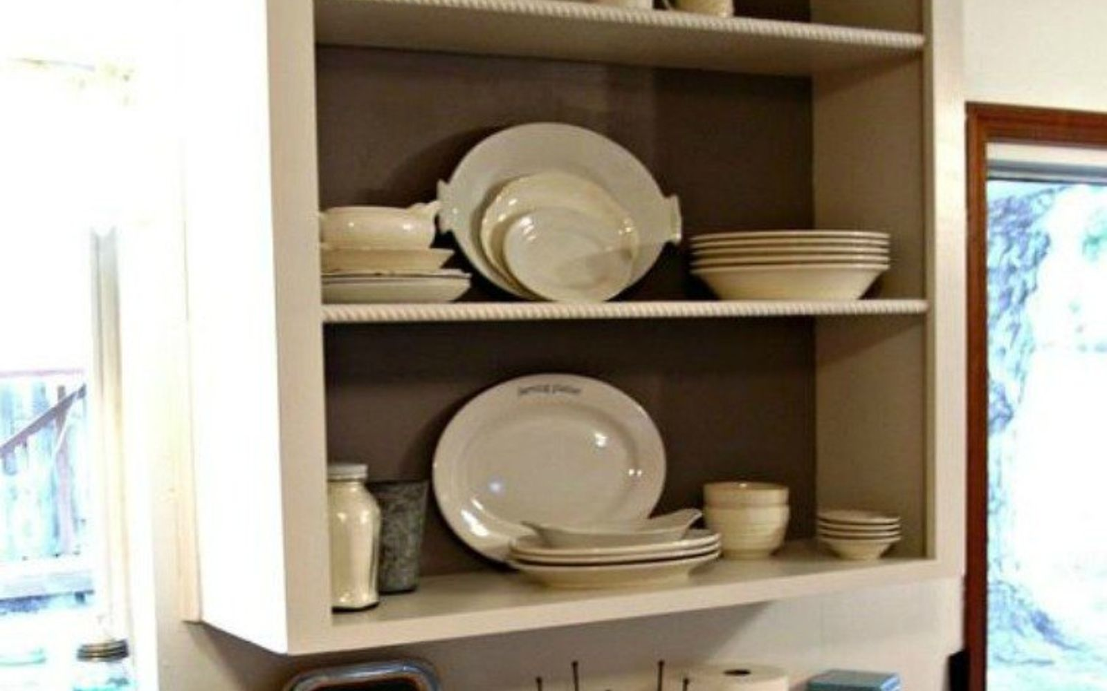 s 15 clever ways to add more kitchen storage space with open shelves, kitchen design, shelving ideas, storage ideas, Display your serving dishes within reach