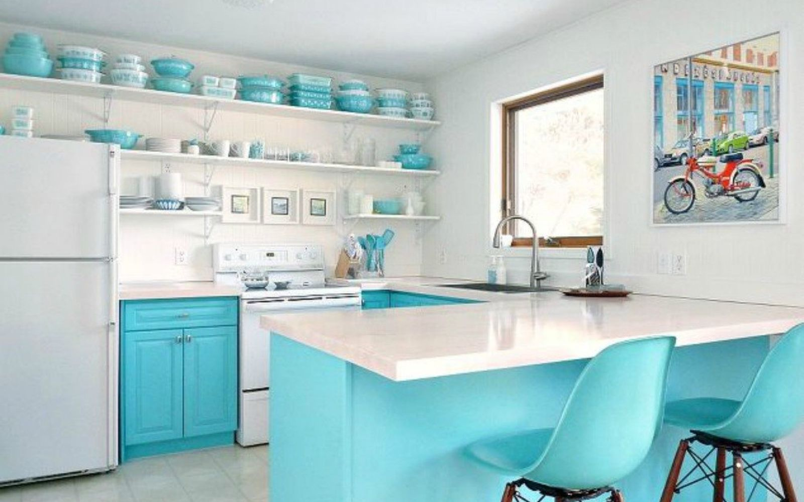 s 15 clever ways to add more kitchen storage space with open shelves, kitchen design, shelving ideas, storage ideas, Show off your colorful dishes