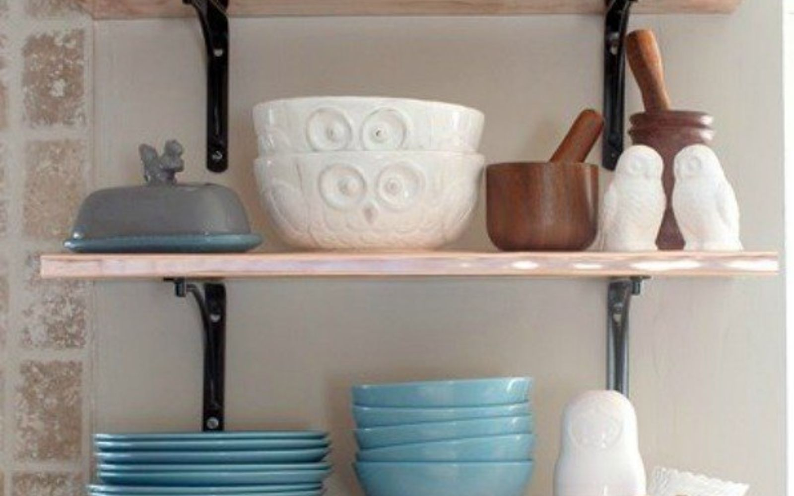 s 15 clever ways to add more kitchen storage space with open shelves, kitchen design, shelving ideas, storage ideas, Make them out of brass or copper