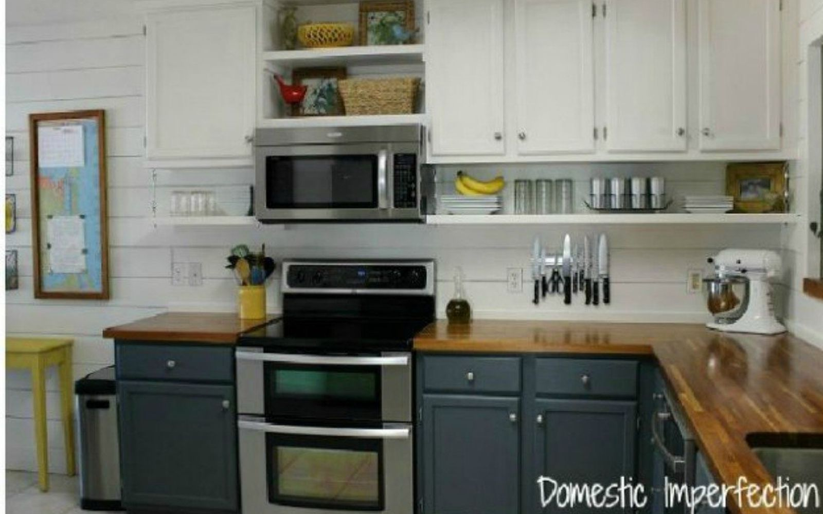 s 15 clever ways to add more kitchen storage space with open shelves, kitchen design, shelving ideas, storage ideas, Add a layer underneath cabinets