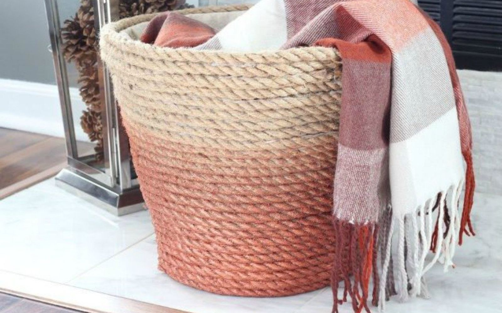s decorate your living room for under 10 with these 15 ideas, Wrap a cheap laundry basket in jute rope