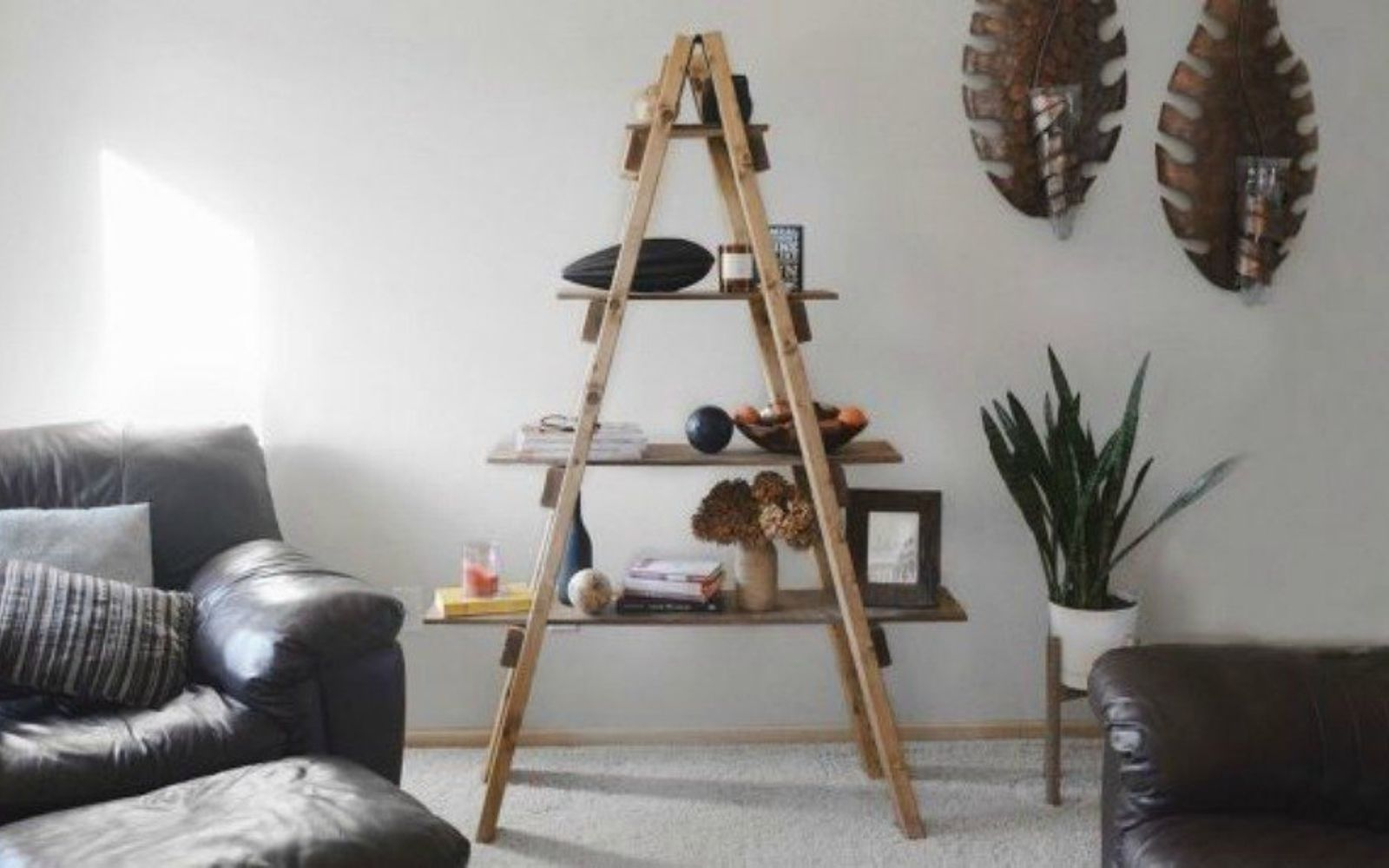 s decorate your living room for under 10 with these 15 ideas, Build a stunning rustic ladder shelf
