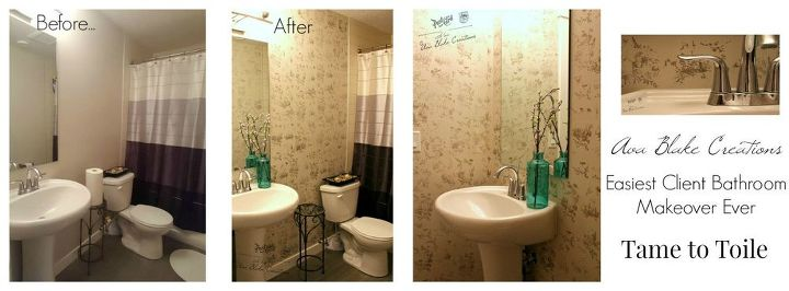 Toile Bathroom Ideas: Easiest Bathroom Makeover From Tame To Toile In 2.5hrs