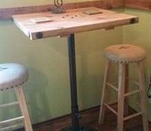 discarded patio umbrella base into a cool pipe table, painted furniture, plumbing, Final product