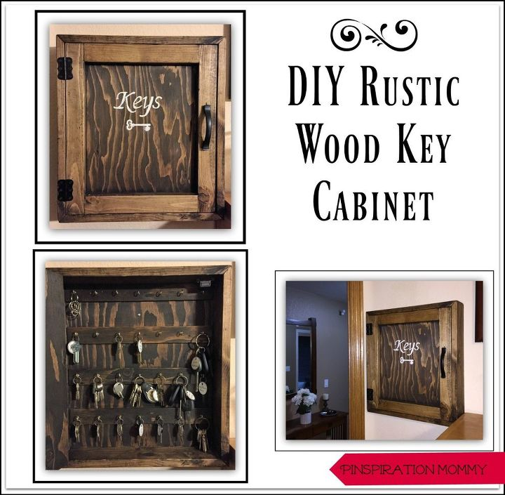 Diy rustic wood key cabinet hometalk for Building rustic kitchen cabinets
