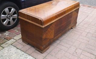 chipped veneer art deco cedar chest restore, crafts, painted furniture, woodworking projects