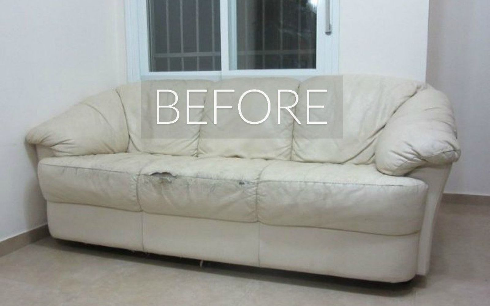 s hide your couch s wear and tear with these 9 ingenious ideas, painted furniture, Before Torn and worn