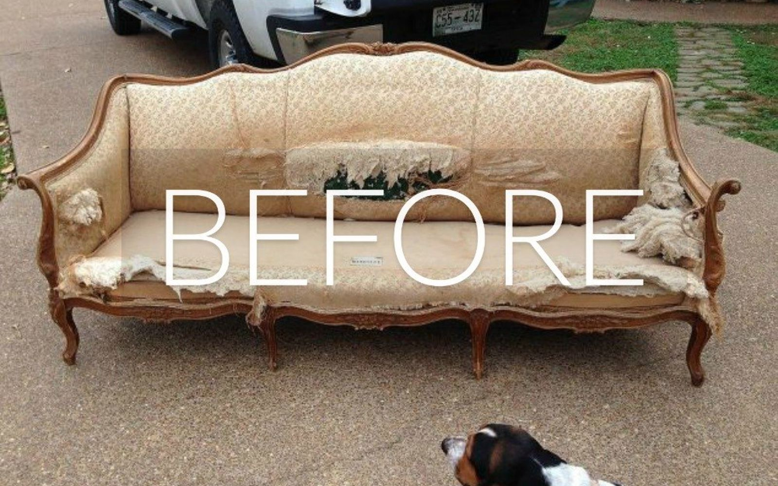 s hide your couch s wear and tear with these 9 ingenious ideas, painted furniture, Before Dumpster Derelict