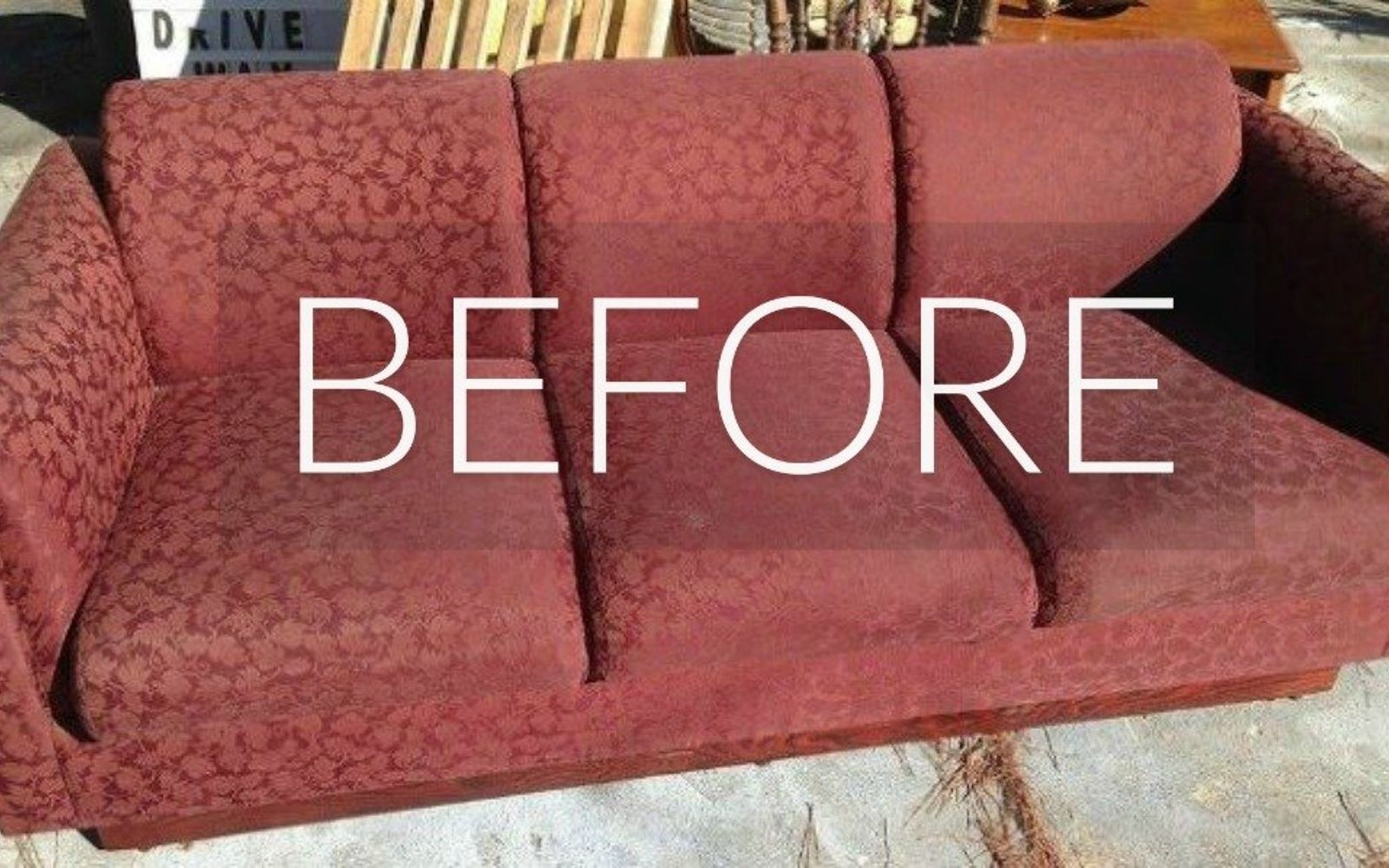 s hide your couch s wear and tear with these 9 ingenious ideas, painted furniture, Before Stained and sad