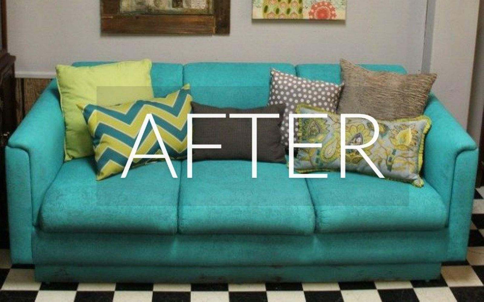 s hide your couch s wear and tear with these 9 ingenious ideas, painted furniture, After A new blue beauty