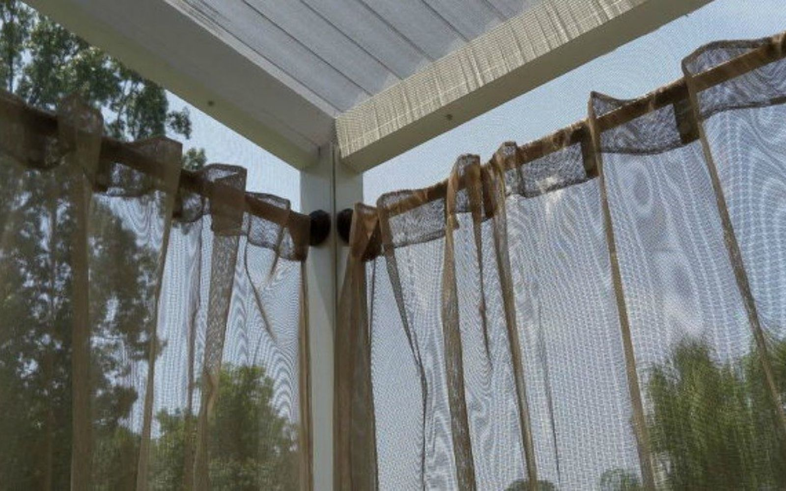 Outdoor curtain rods - How To Get Backyard Privacy Without A Fence Hometalk