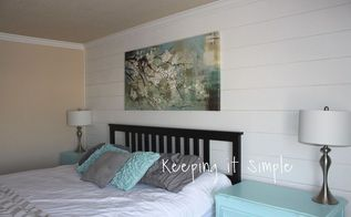 shiplap wall in the master bedroom for less than 100, bedroom ideas