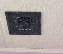 faux antique iron vents covers, hvac, repurposing upcycling