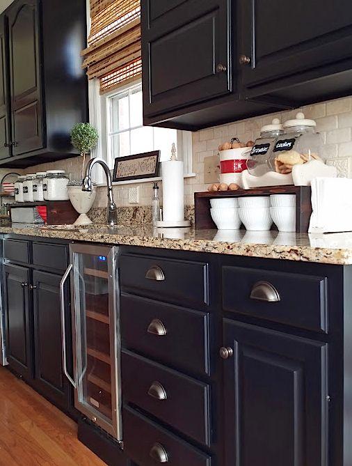 Black kitchen cabinets makeover reveal hometalk for Black kitchen cabinet designs