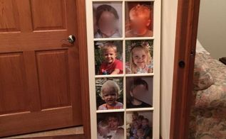 vintage window repurposed as picture frame