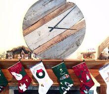 reclaimed barn wood clock, outdoor living