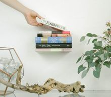 diy floating bookshelf upcycle, shelving ideas, storage ideas