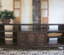 laminate flooring transforms a long dresser, flooring, painted furniture