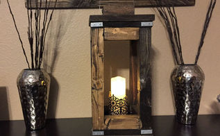 diy rusic wood lantern, outdoor living