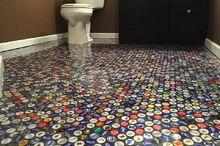 beer cap bathroom floor, bathroom ideas, flooring