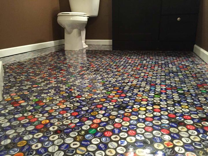 Beer cap bathroom floor hometalk for Cool beer cap ideas