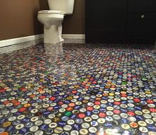 q beer cap bathroom floor, bathroom ideas, flooring