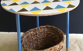 geometric print accent table diy, painted furniture