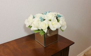 dollar tree diy mirror box vase and flower arrangement, gardening, home decor