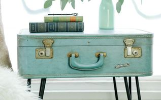suitcase side table upcycle, painted furniture