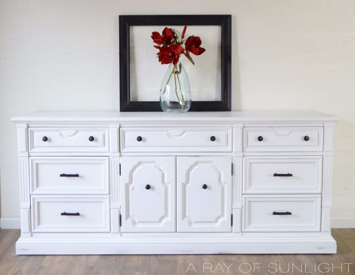 Vintage dresser makeover in white chalk paint and oil for Black chalk paint dresser
