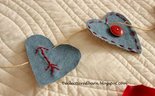 valentine garland from old jeans, seasonal holiday decor, valentines day ideas