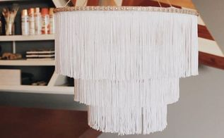 diy chandelier boho fringe, lighting