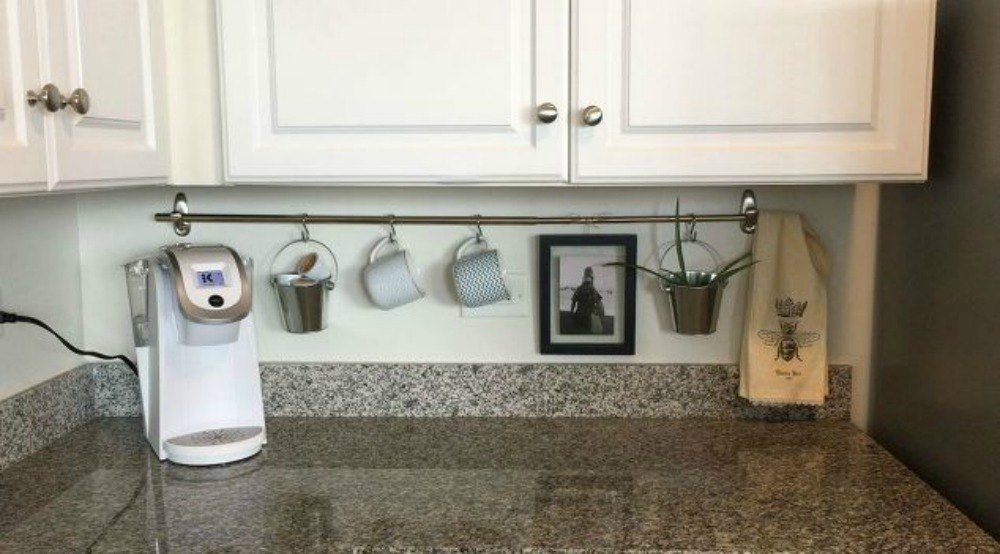 keep clutter off your counter with a rod - Kitchen Countertop Storage Ideas