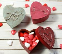 vintage inspired paper mache heart boxes