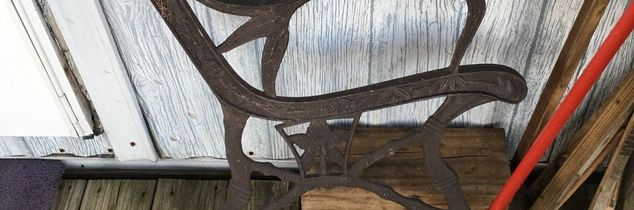 q old iron wood bench, outdoor furniture