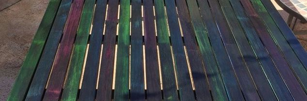 q unicorn spit patio table, painted furniture