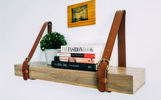 belt upcycle leather strap shelf, shelving ideas