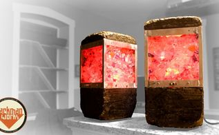 concrete upcycled glass lamps, concrete masonry, lighting