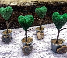 faux heart topiary place card holders diy, gardening