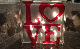 plain glass block to glowing valentine decor, home decor, seasonal holiday decor, valentines day ideas