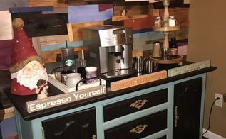 at home coffee espresso bar, home decor, outdoor living, painted furniture