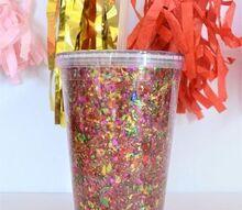 easy confetti craft decorate a clear tumbler, crafts