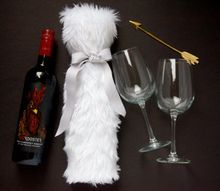 faux fur wine bottle holder, Ready to be gifted