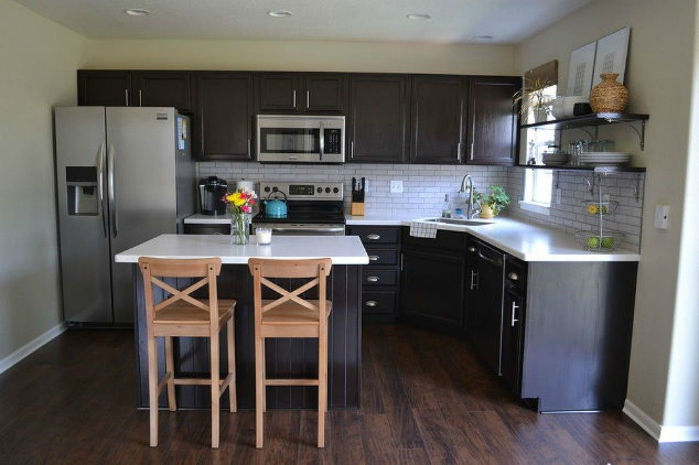dark brown kitchen cabinets modern cabinet designs with wood floor espresso best free home. Black Bedroom Furniture Sets. Home Design Ideas