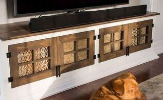 diy built in media console, closet