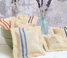 french grain sack inspired repurposed sachets
