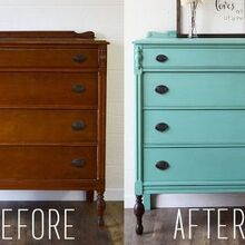 teal highboy dresser with dark stained legs, painted furniture